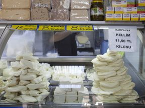 Traditional Cypriot halloumi cheese in a shop in Nicosia