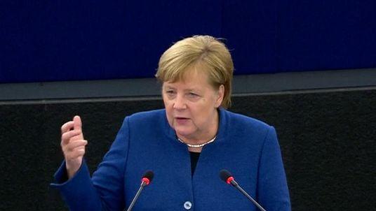 Angela Merkel calls for a European army in a speech in Strasbourg