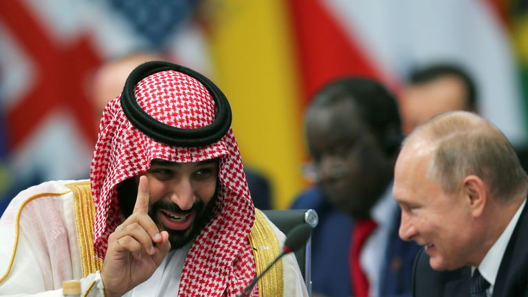 Prince Mohammed bin Salman with Russia's President Putin during the opening of the G20 summit