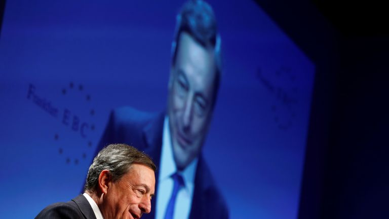 ECB president Mario Draghi is still preparing to withdraw a vast stimulus package despite weak growth