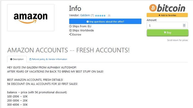 Amazon accounts for sail on the dark web. Pic: Digital Shadows