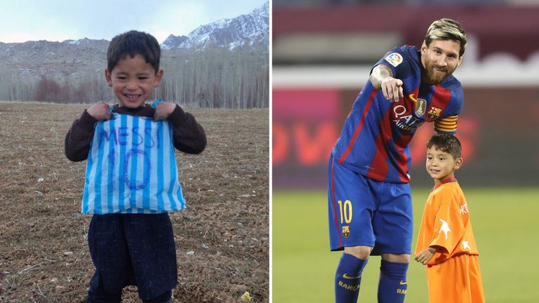Murtaza Ahmadi met Lionel Messi after an image of him a makeshift shirt went viral