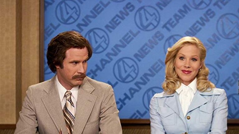 Ron Burgundy (Will Ferrell) and Veronica Corningstone (Christina Applegate) in Anchorman