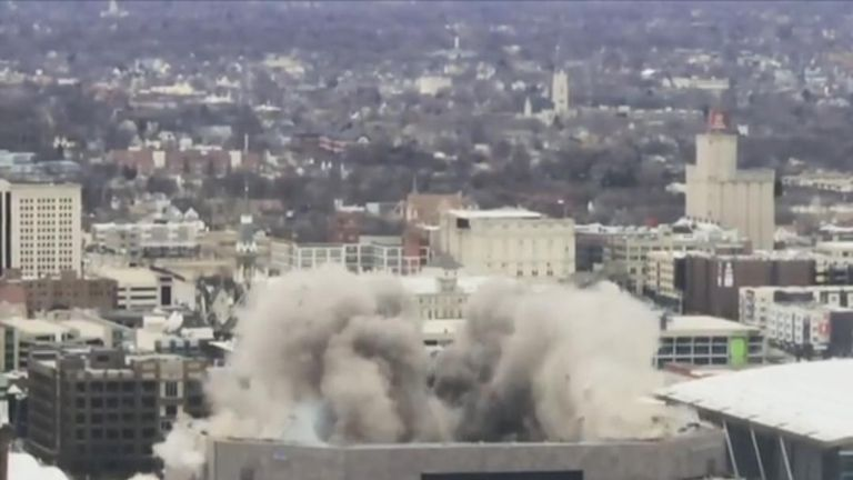 Crowds gathered to watch as the roof of the Bradley Center, an arena that served as the home of the Wisconsin's Milwaukee Bucks basketball team for 30 years, was imploded on the morning of January 13 as part of the its ongoing demolition.