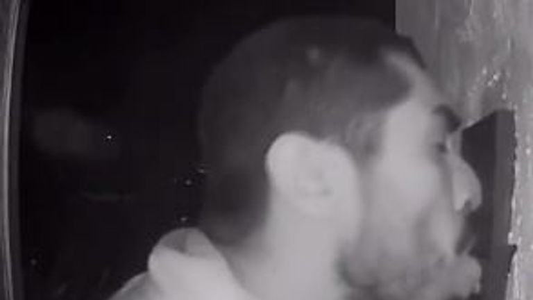 The 33-year-old changed angles several times as he licked the doorbell. Pic: ring.com/Sylvia Dungan