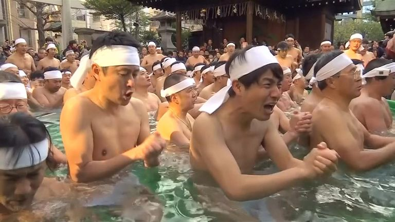 Nearly 100 people gathered to purify their souls and wish for good health at the 64th annual Shinto ritual.