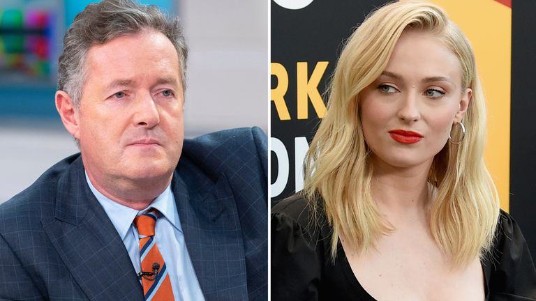 Piers Morgan and Sophie Turner. Pic: Ken McKay
