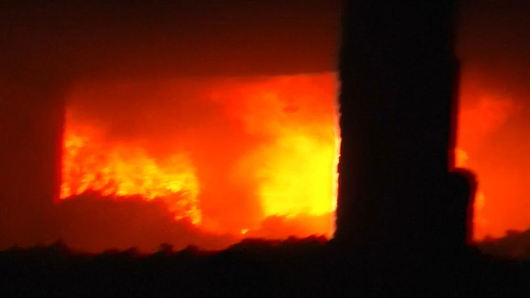 The fire tore through the four storey building