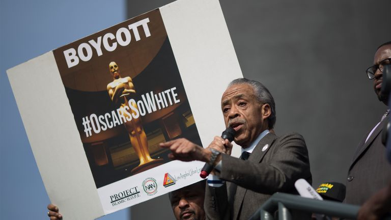 Rev Al Sharpton speaks to a rally protesting an all-white slate of Oscar nominees in 2016