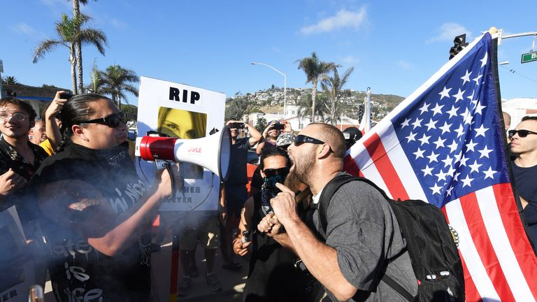 Pro and anti-Trump demonstrators in California