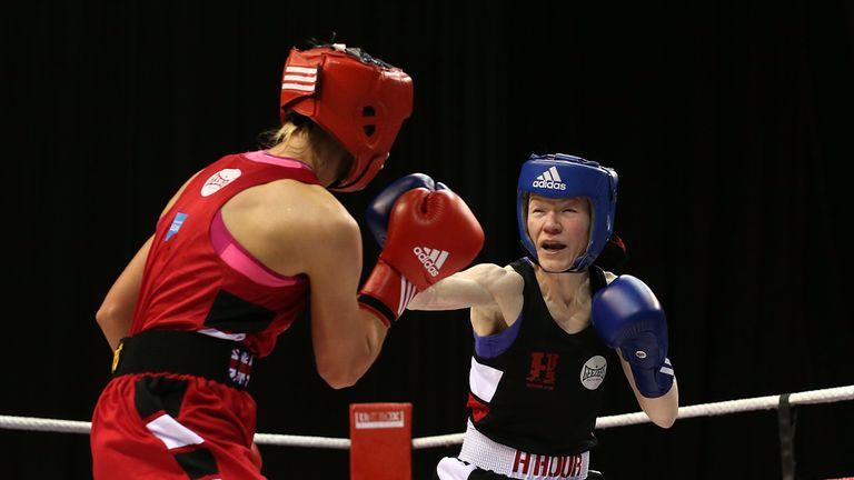 Rachael Mackenzie, in blue, overcame her eating disorder through sport