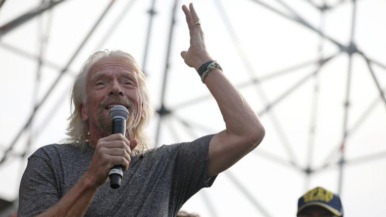 Richard Branson addresses crowds at the concert